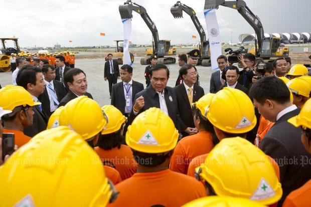 Flashback, September 2016: Prime Minister Prayut Chan-o-cha presided over the ground-breaking ceremony at Suvarnabhumi airport's second phase. (Photo by Krit Promsaka na Sakolnakorn)