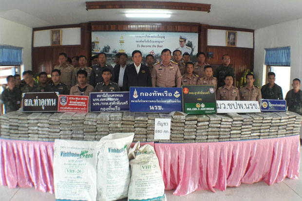 Officials show the 840 one-kilogramme bricks of compressed marijuana at the Mekong Riverine Unit in Nakhon Phanom on Thursday. (Photo by Pattanapong Seepiachai)