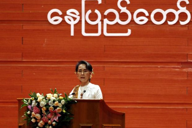 Myanmar leader Aung San Suu Kyi speaks during the closing ceremony of the second session of her Union Peace Conference in Nay Pyi Taw last week. She said the talks were