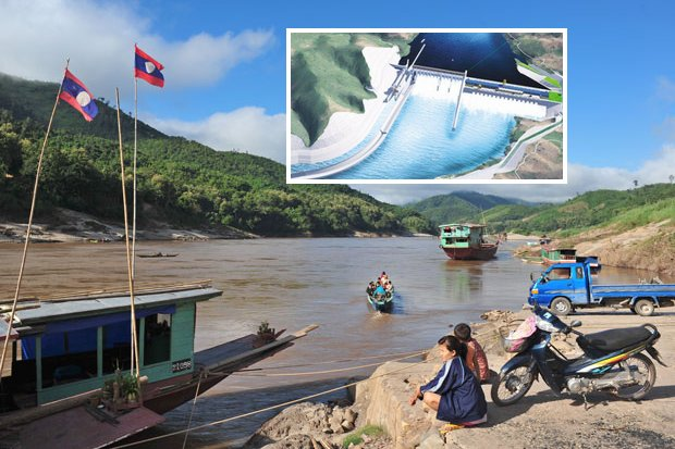 The Pak Beng landing on the Mekong River is to be the most northern dam of 11 being constructed or planned to be built on the Laos part of the river. Inset: Artists rendition of the finished dam. (Images via RFA, International Rivers)