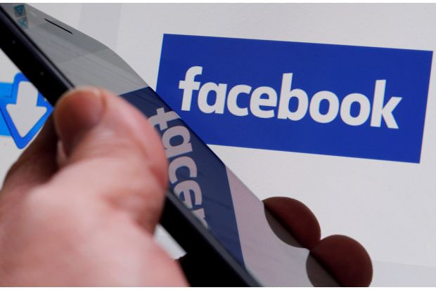 The Facebook logo is displayed on the company's website in Bordeaux. (Reuters photo)