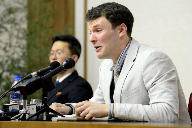 This file photo taken on February 29, 2016, shows Warmbier at a press conference, confessing. (Photo by North Korean Central News Agency)