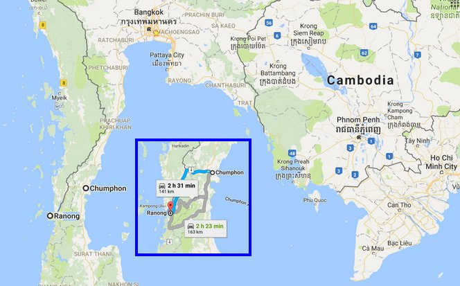Almost all travel between Chumphon, on the Gulf, and Ranong, on the Andaman Sea, is by bus, passenger van or private transportation. (Graphic via Google Maps)
