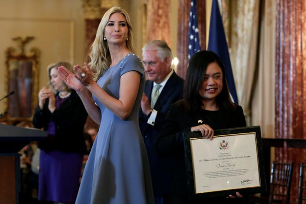 Anti-trafficking activist Boom Mosby of Chiang Mai received a 'Hero's Award' from Ivanka Trump and US Secretary of State Rex Tillerson (second right) at the presentation of the annual US State Department report on Trafficking in Persons. (Reuters photo)