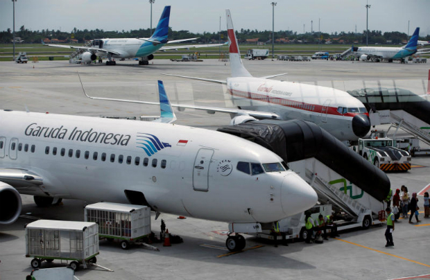 Garuda Indonesia planes are seen on the tarmac of Terminal 3, SoekarnoÐHatta International Airport near Jakarta, Indonesia April 28, 2017. (Reuters photo)