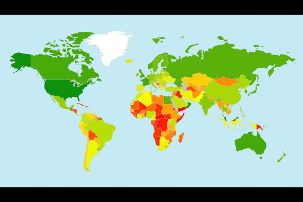 A screenshot of the 2017 Global Cybersecurity Index report shows the heat map of the level of commitment from green (highest) to red (lowest).
