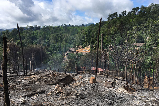 Living quarters at Ban Mai Nai Soi refugee camp in Mae Hong Son's Muang district  reduced to ash by a fire late on Wednesday night. A total of 36 huts were burned  down in zone 5. (Photo by Cheewin Sattha)