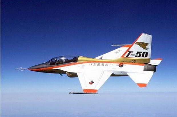 The KAI T-50 Golden Eagle advanced jet trainer is a two-seat, single-engine, light-combat aircraft developed by Korea Aerospace.