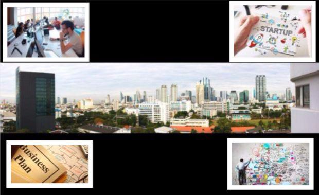 Skyline of Bangkok's business district in the Sathorn-Sukhumvit area. Inset: Entrepreneurs founding startups at work (Source: Wikipedia).