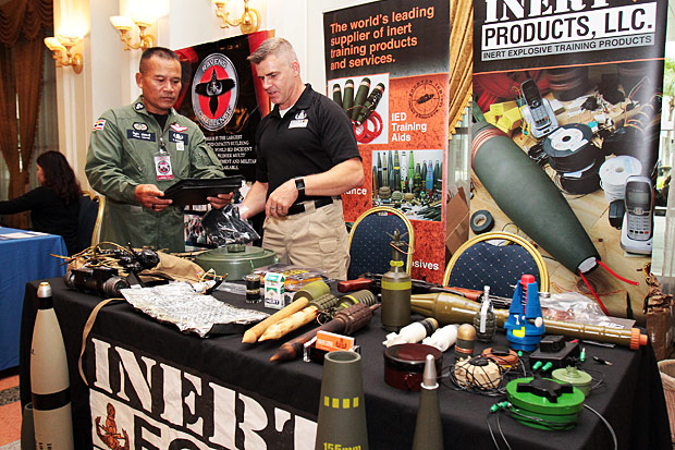 Equipment and products are displayed at the DTI Technology Challenge Day exhibition in Bangkok which showcases technology for defusing improvised explosive devices. The event is hosted by the Defence Technology Institute.(Photo by Tawatchai Kemgumnerd)