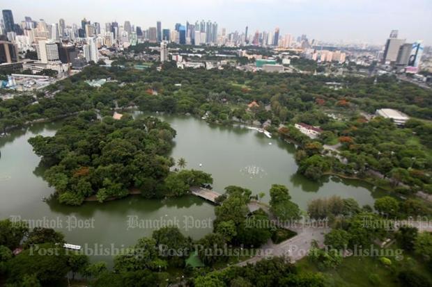 An aerial view of Lumpini Park. THITI WANNAMONTHA