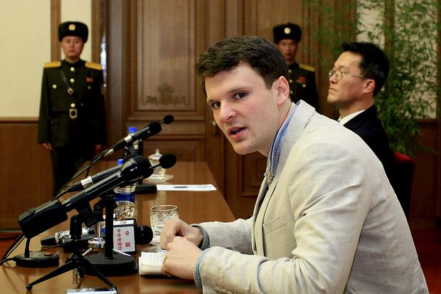 In this Feb 29, 2016 file photo, American student Otto Warmbier speaks as he is presented to reporters in Pyongyang, North Korea. (AP photo)