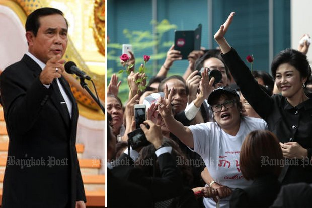 Prime Minister Prayut Chan-o-cha ramps up his caution: Too many wellwishers at the court next Tuesday and Aug 25 will spoil the day and bring down punishment for illegal gathering. (Bangkok Post file photos)