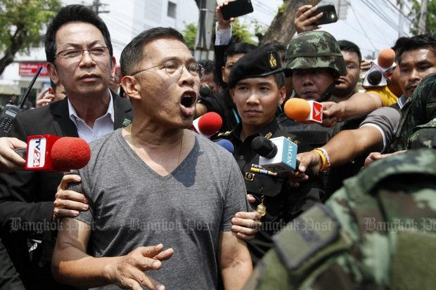 Serial offender of the National Council for Peace and Order (NCPO) Watana Muangsuk is seen here being released from Bangkok Remand Prison on bail by the military court in April of 2016. He faces new charges of rebellion, filed Thursday. (File photo by Pattarapong Chatpattarasill)