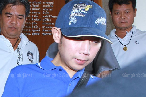 Vorayuth 'Boss' Yoovidhya is seen at Thong Lor police station on Sept 4, 2012, a day after he allegedly hit a policeman on motorcycle. (Bangkok Post file photo)