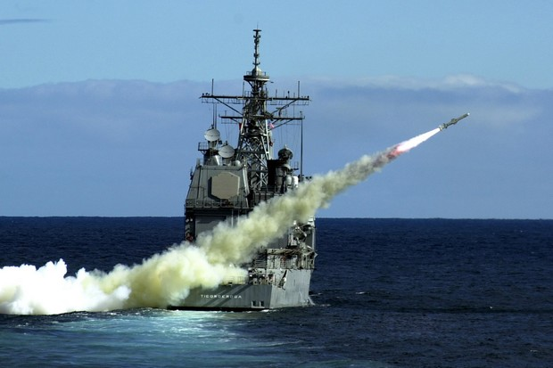A Harpoon anti-ship missile is fired in a test from the USS Ticonderoga, a guided missile cruiser. (Photo, graphic by US Navy)
