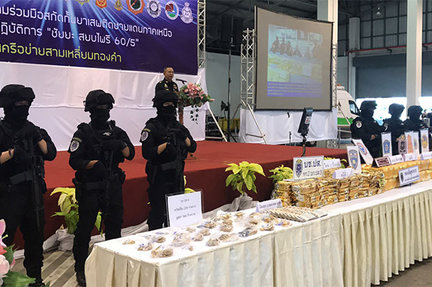 Large quantities of speed pills and crystal methamphetamine seized over the past 10 months are shown during a media briefing in Chiang Rai's Mae Sai district on Wednesday. (Photo by Chinapat Chaimon)