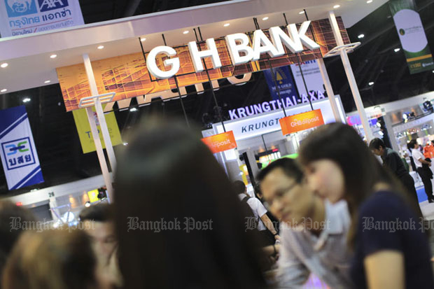 A booth of state-run GH Bank at the Money Expo in Nonthaburi in May 2017 is pictured. (Bangkok Post file photo)
