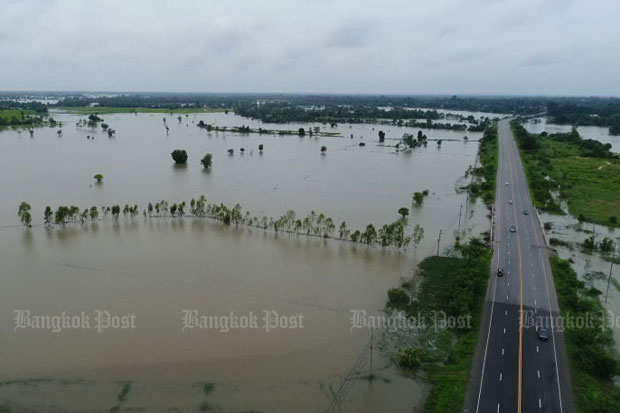 An aerial view shows flooded areas in Kalasin on Sunday. (Post Today photo)