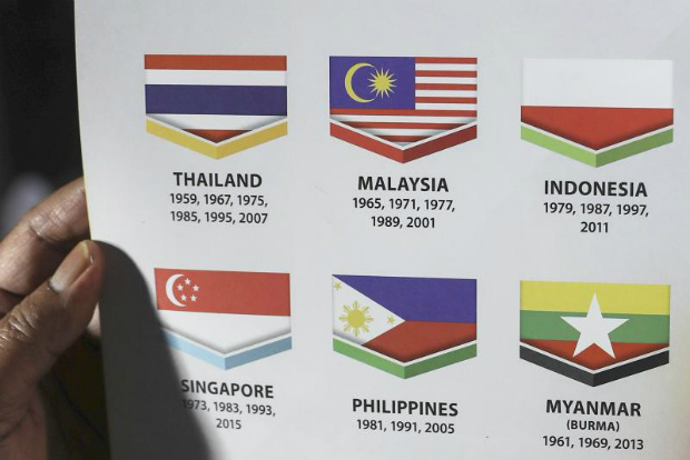 The Indonesian flag is depicted upside down in a Kuala Lumpur SEA Games 2017 booklet in Malaysia on Sunday. (EPA photo)