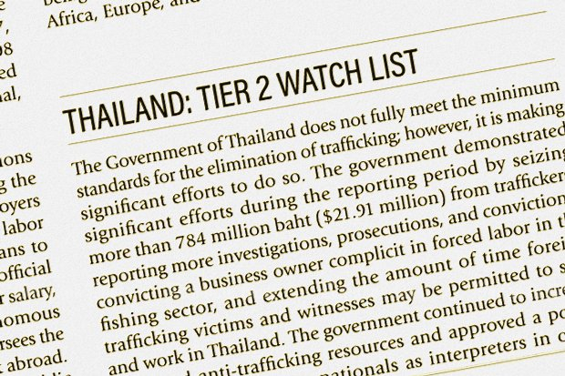 Thailand has risen only slightly in the annual US Trafficking in Persons report, and wider policies are needed to tackle the problem.