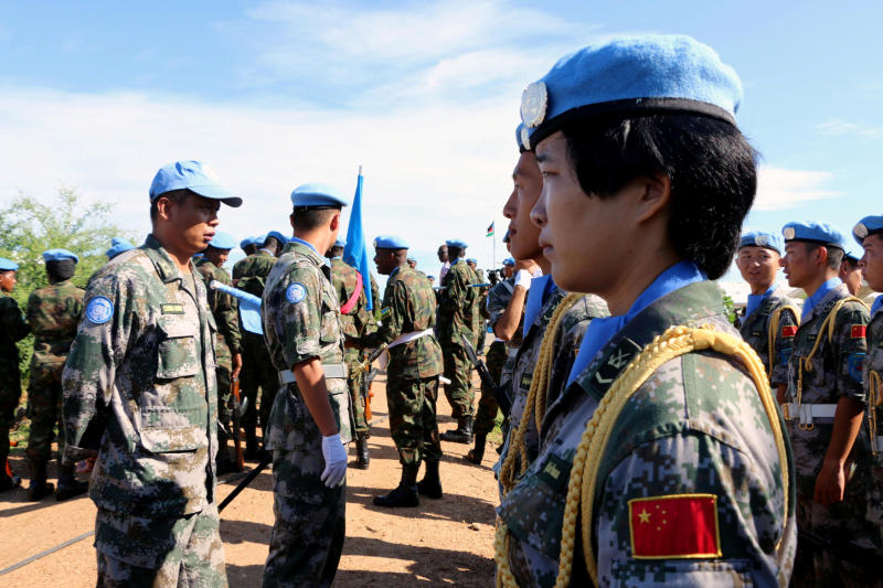 Chinese peacekeepers parade during the International Day of United Nations Peacekeepers in Juba, South Sudan on May 29, 2017. Thailand will send army engineers to join the mission by January next year. (Reuters photo)