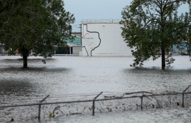 The Arkema Inc chemical plant is flooded from Tropical Storm Harvey, on Wednesday, in Crosby, Texas. The plant, about 40km northeast of Houston, lost power and its backup generators amid Harvey's days-long deluge, leaving it without refrigeration for chemicals that become volatile as the temperature rises. (AP photo)