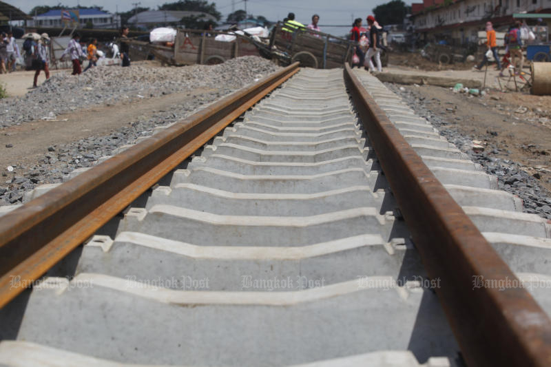 The Thai railway track has been rebuilt from Aranyaprathet to the Thai-Cambodian border in Cambodia's Poipet town. (Photo by Pattanapong Hirunard)