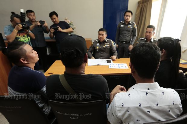 Seven men file complaints with crime suppression police on Tuesday. (Photo by Patipat Janthong)