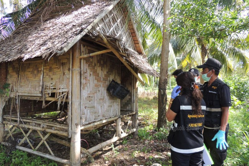 Police inspect a shack in Ban Koh Raet village of Phangnga province, apparently where a teenage girl was raped multiple times by at least 40 men. (Photo by Achadtaya Cheunniran)