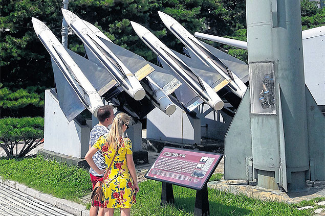 Tourists look at SCAD missiles at the War Memorial Museum of Korea in Seoul. (Photos: Erich Parpart)