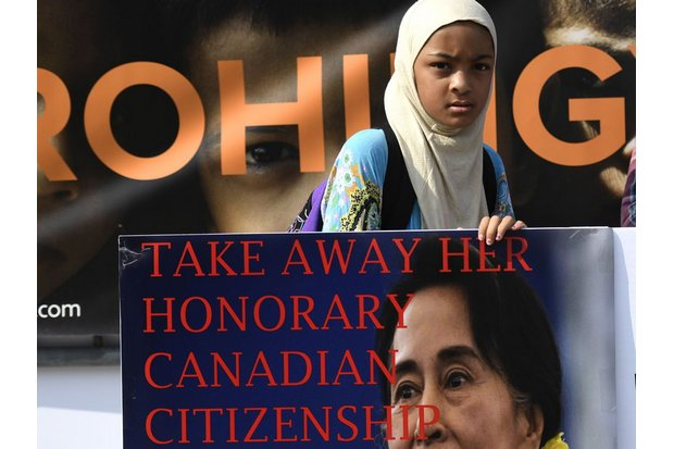 A Muslim movement in Canada now is demanding that the government remove the honorary citizenship given to Aung San Suu Kyi in 2012. (Canadian Press via AP)