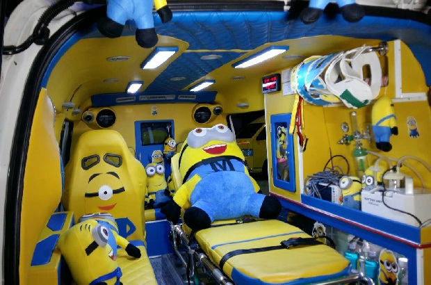 The inside of the second ambulance owned by volunteer rescuer Nirand Leesuwan is decorated in a cheerful Minions theme, offering  patients some distraction from their suffering. (Photo by Treenai Chansrichol)