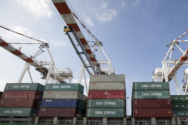 Stacked containers are seen ready for shipping out. (File photo)
