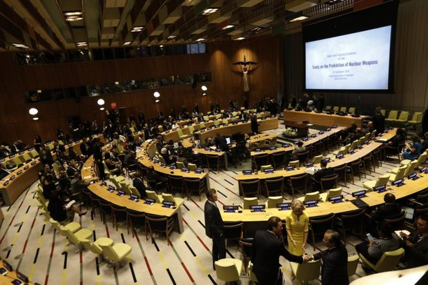 Thailand and 49 other countries gathered at a conference room inside the United Nations headquarters in New York to sign the nuclear prohibition treaty on its first day. (EPA photo)