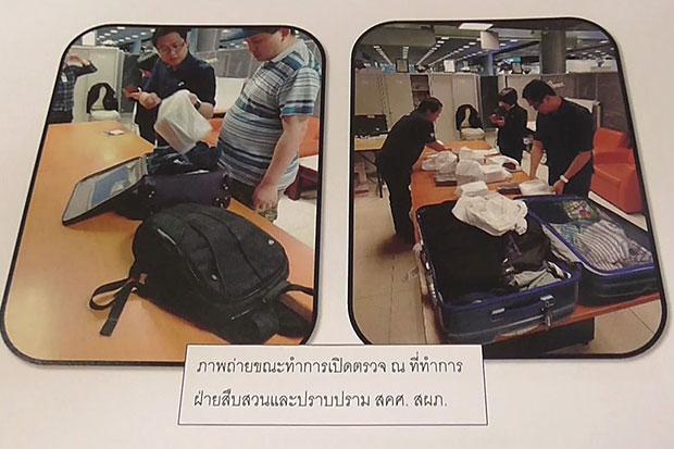 Customs authorities search the suitcases of Australian Ho Wun Howard Lee at Suvarnabhumi airport on Sunday. (Suvarnabhumi airport customs office photo)