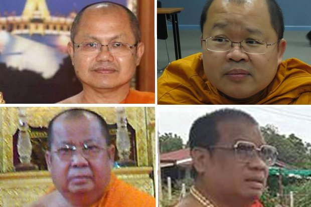The four senior monks caught up in the graft scandal, clockwise from top left: Phra Thepsenabodi, Phra Rajratanamunee, Phra Khru Wisutthiwattanakit, Phra Khru Kittipatcharakhun. (Photos FB)
