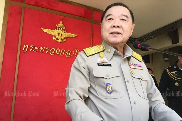 Deputy Prime Minister Prawit Wongsuwon: The government 'wants an election in 2018' but if you want an election date, wait on Prime Minister Prayut Chan-o-cha. (Photo via Twitter/@wassanananuam)