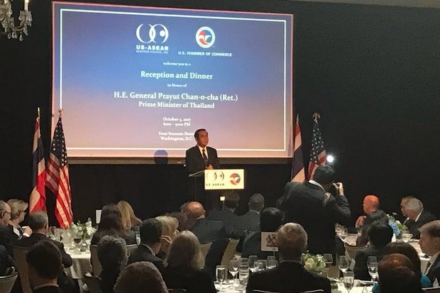 Prime Minister Prayut Chan-o-cha, at a Washington dinner hosted in his honour by the US-Asean Business Council and the US Chamber of Commerce: 'Democracy will definitely come around. I will announce dates for elections.' (Photo via Twitter/@USASEANBusiness)