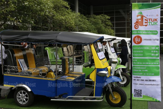 The humble tuk-tuk may soon disappear and be replace by a look-alike that runs silently, under a 106-million baht programme to make the three wheelers into EVs. (Photo by Pattarapong Chatpattarasill)