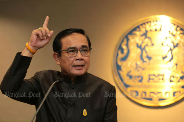 Prime Minister Prayuth Chan-o-cha answers questions during a press conference following a cabinet meeting at Government House on Sept 26, 2017. (Bangkok Post photo)