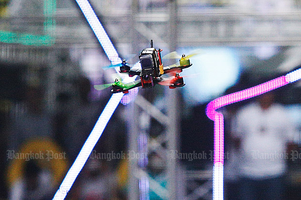 The National Broadcasting and Telecommunications Commission has ordered that all drones must be registered before they can take off again. (Bangkok Post file photo)