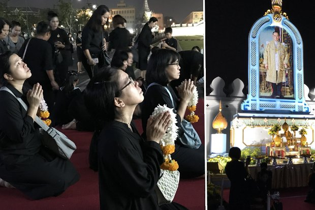 These photos taken at 5.43am Friday show subjects bringing fresh flowers to pay respects at the portrait of the late King at the side of the Grand Palace. (Photos Twitter/@ThaiPBSNews)