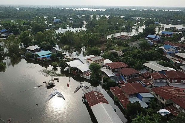 An aerial view shows a flooded area in Khon Kaen's Muang district on Sunday. (Chakraphan Nathanri)