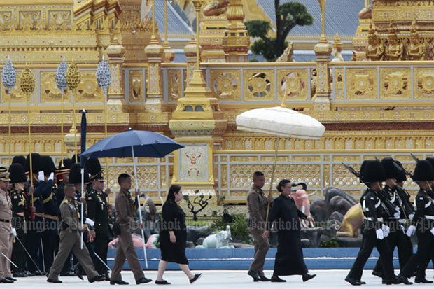 Her Royal Highness Princess Maha Chakri Sirindhorn attends the second rehearsal of the procession for the royal funeral of the late King Bhumibol on Sunday. (Photo by Patipat Janthong)