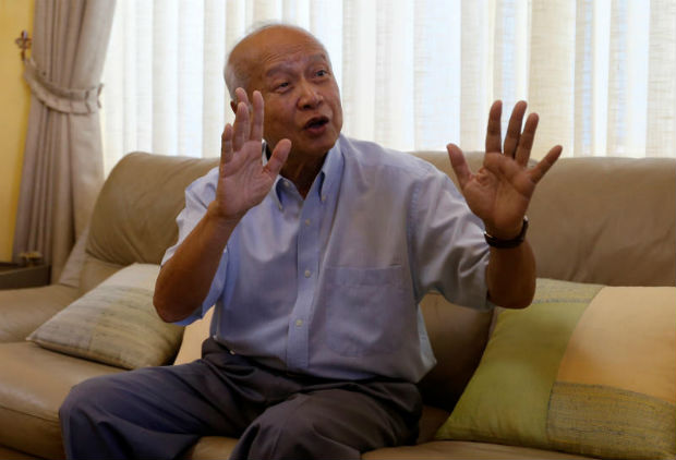 Prince Norodom Ranariddh gestures during an interview with Reuters at his home in central Phnom Penh, Cambodia on Saturday. (Reuters photo)