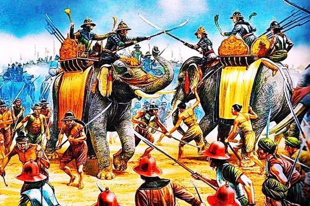 The battle has been depicted and re-enacted countless times on film, radio and TV, and every school child knows the story well. (Painting from Naresuan the Great Museum, Phitsanulok)