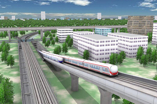 An artist's impression of a stretch of the proposed rail link between the three international airports in Bangkok, Samut Prakan and Rayong. (Photo by Chaiyot Phupattanapong)