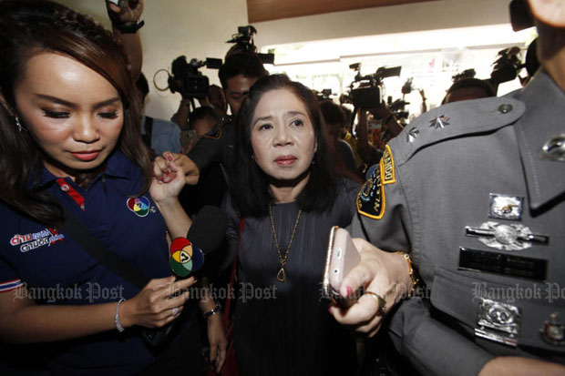 Monta Yokrattanakan, aka Ying Kai, arrives to answer charges at the Crime Suppression Division in Bangkok in July last year. (File photo by Pornprom Satrabhaya)