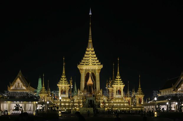 The Royal Crematorium is lit up before the start of the royal cremation ceremony on Thursday. (Photo by Seksan Rojjanametakun)